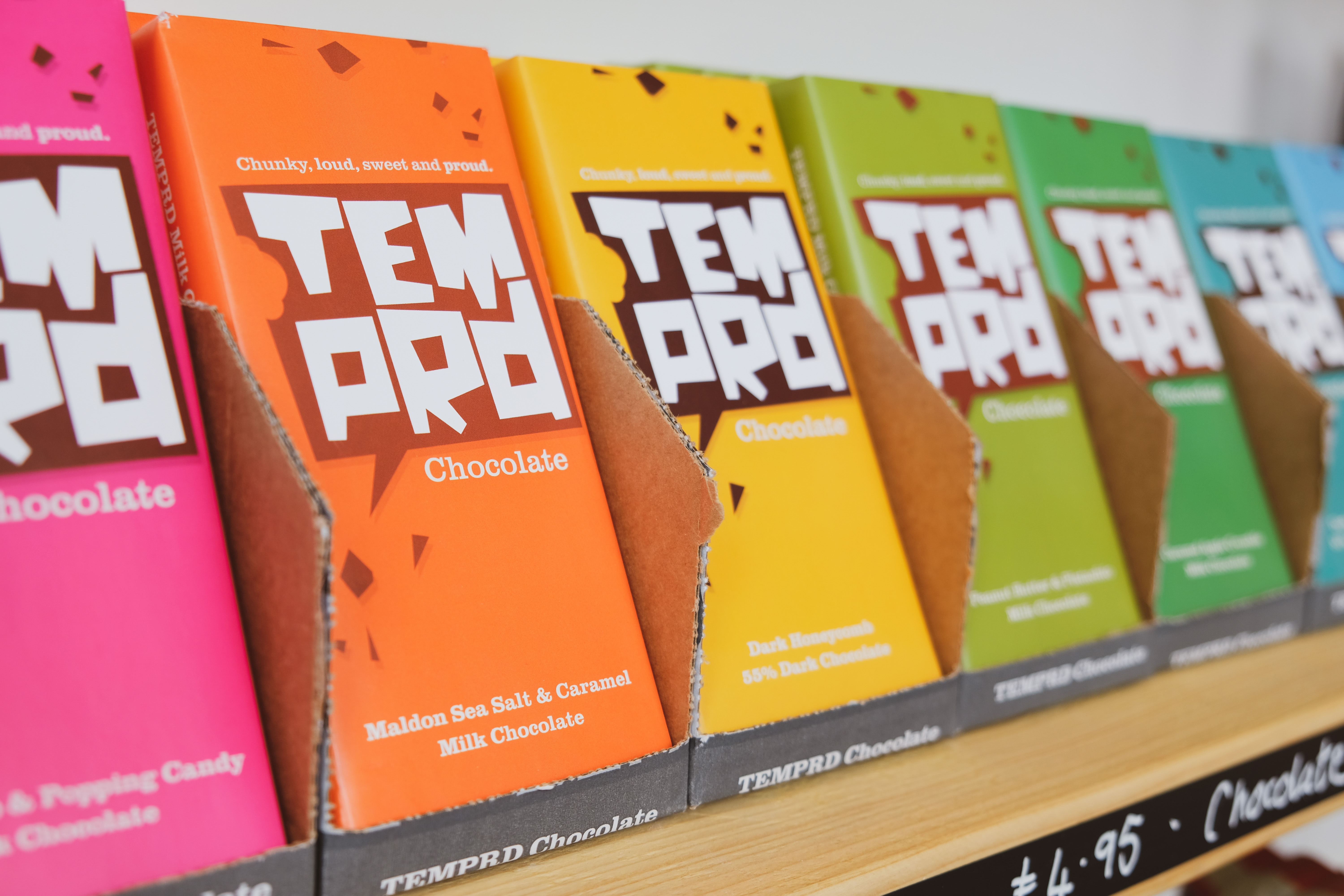 Temprd chocolate range available at the Essex Produce Co. in Kelvedon, Essex.