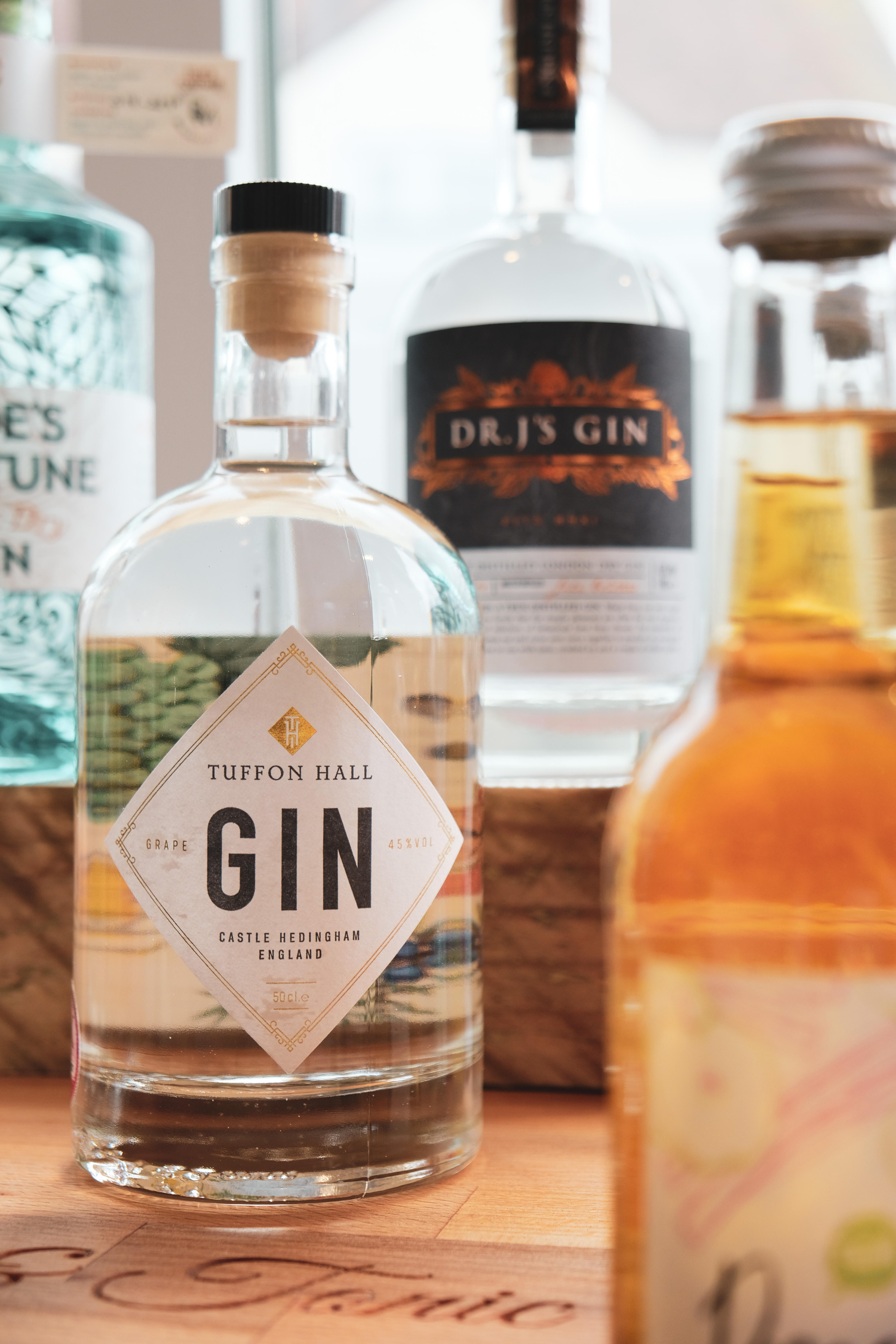 Tuffon Hall gin available at the Essex Produce Co. in Kelvedon, Essex.