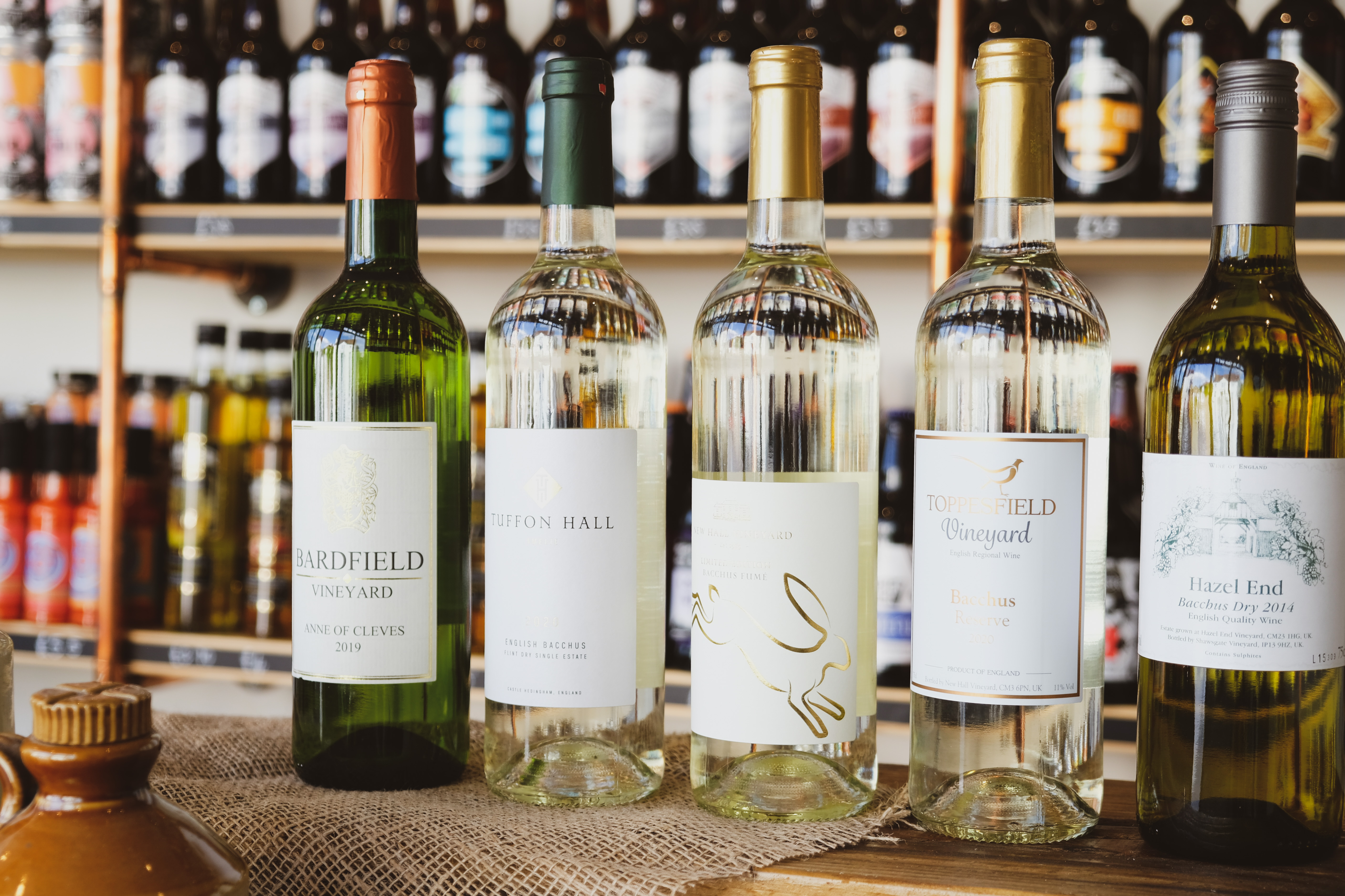 Essex Produce Co. white wine selection in Kelvedon, Essex.