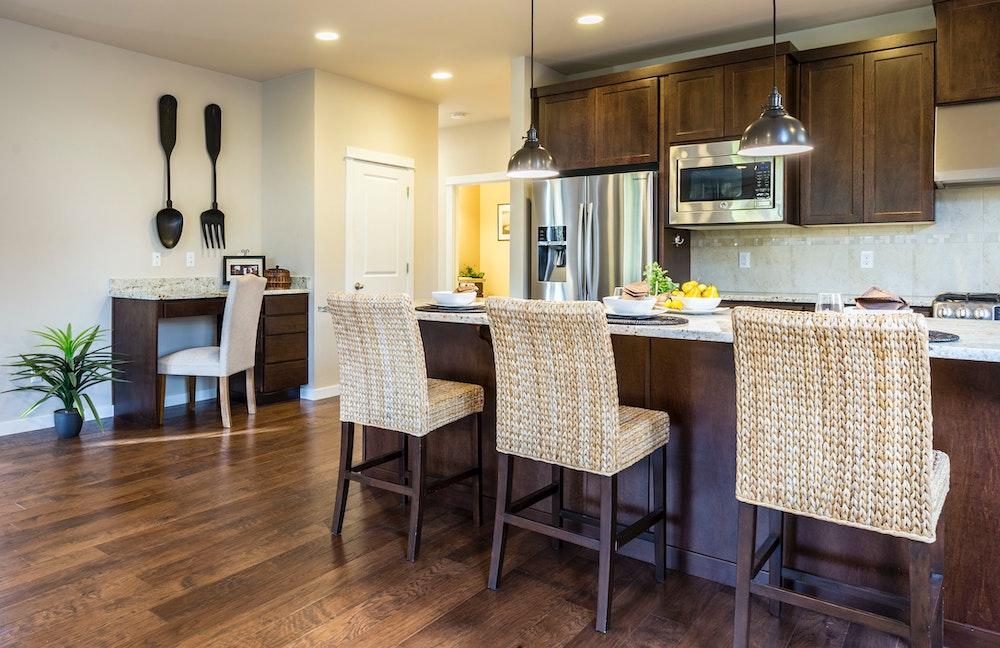 Custom Brown Kitchen Desk Area Cabinets Tampa