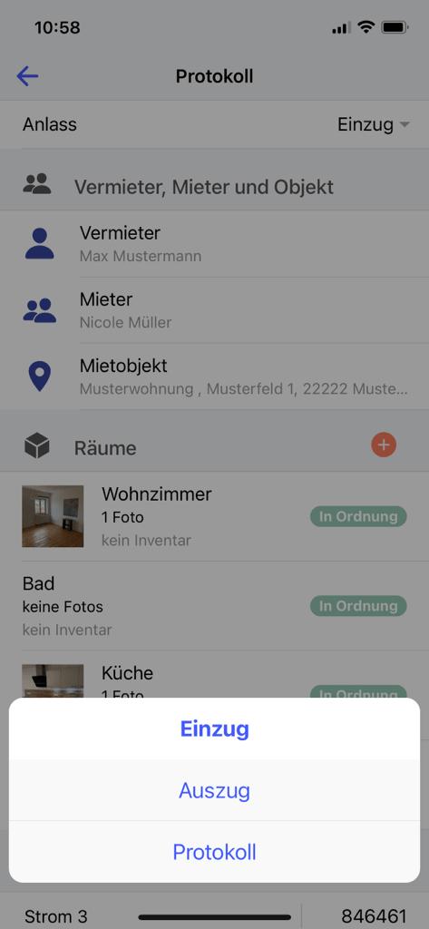 deep rent app screenshot einzug