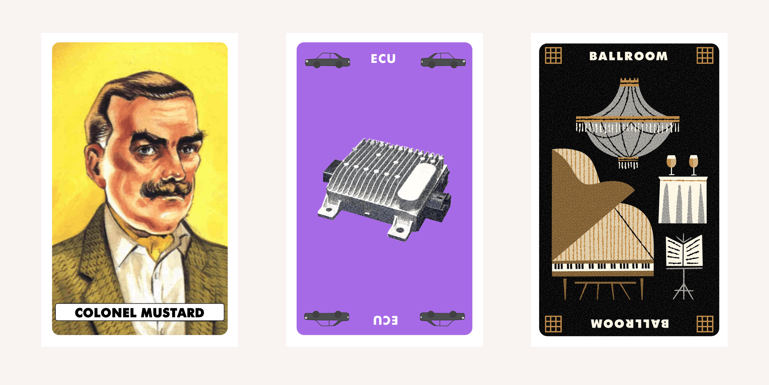 Graphic of Clue cards showing the solution: Colonel Mustard with an ECU in the Ballroom