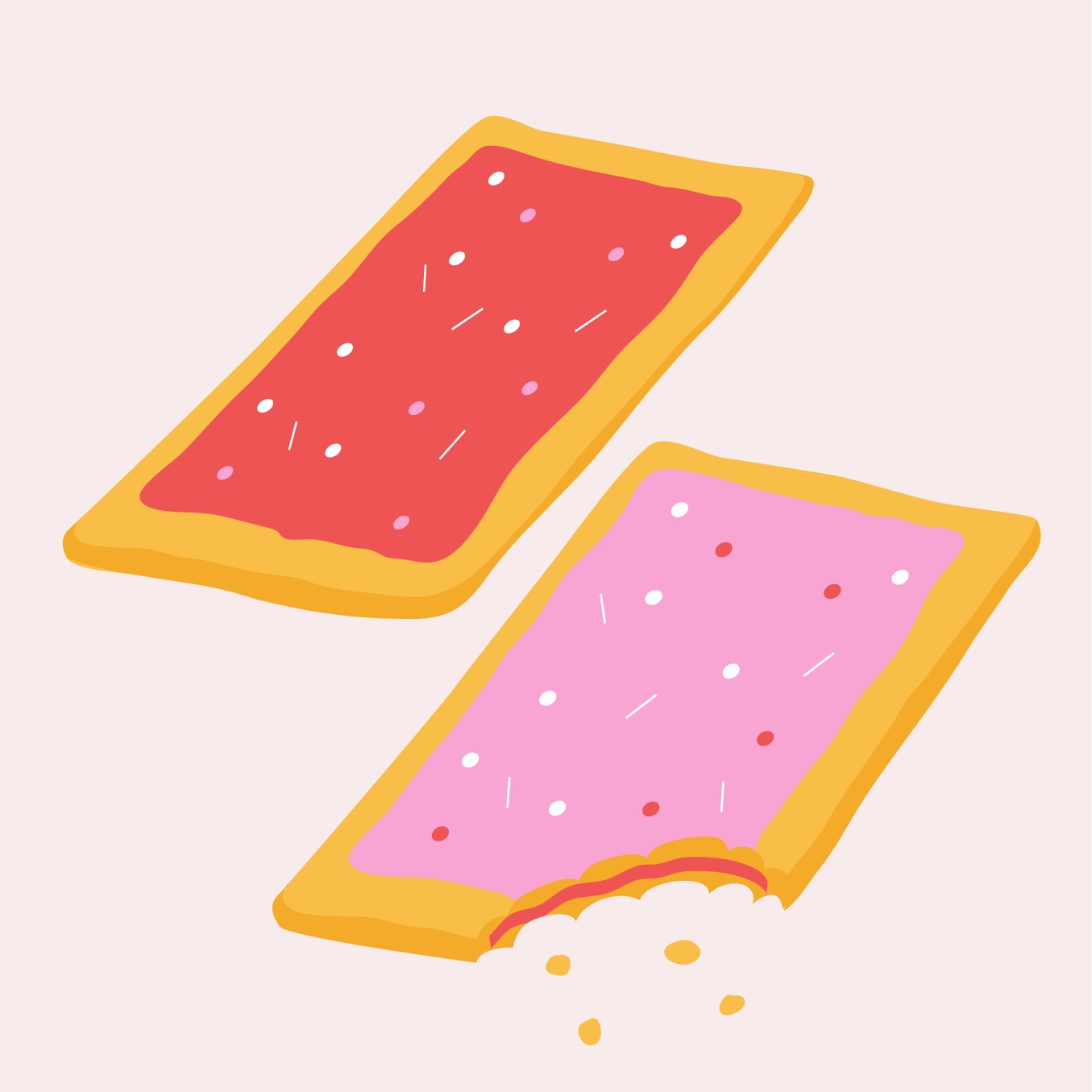 Drawing of two pop tarts (Strawberry and Wild Berry flavors)