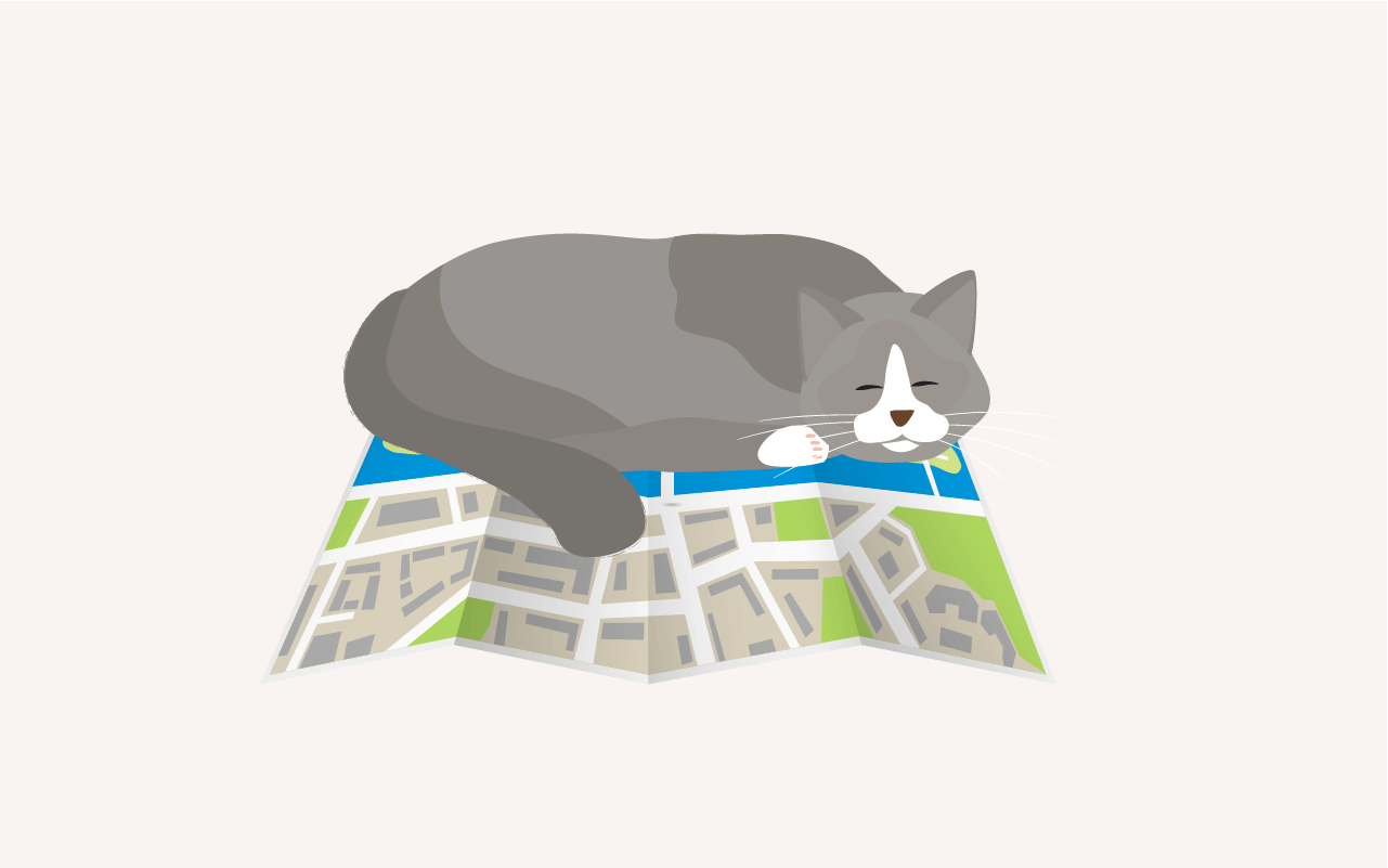 A drawing of Cat on Map, its chin resting on a river