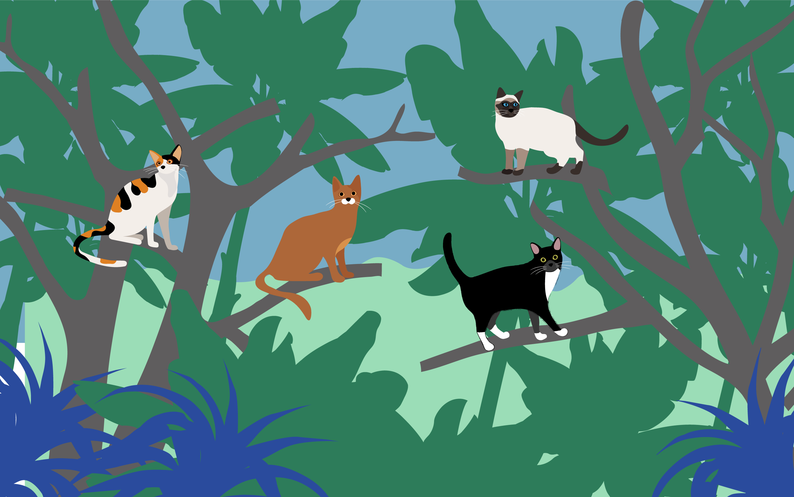 A drawing of Jungle Cats, resting on high-up branches of trees in the jungle