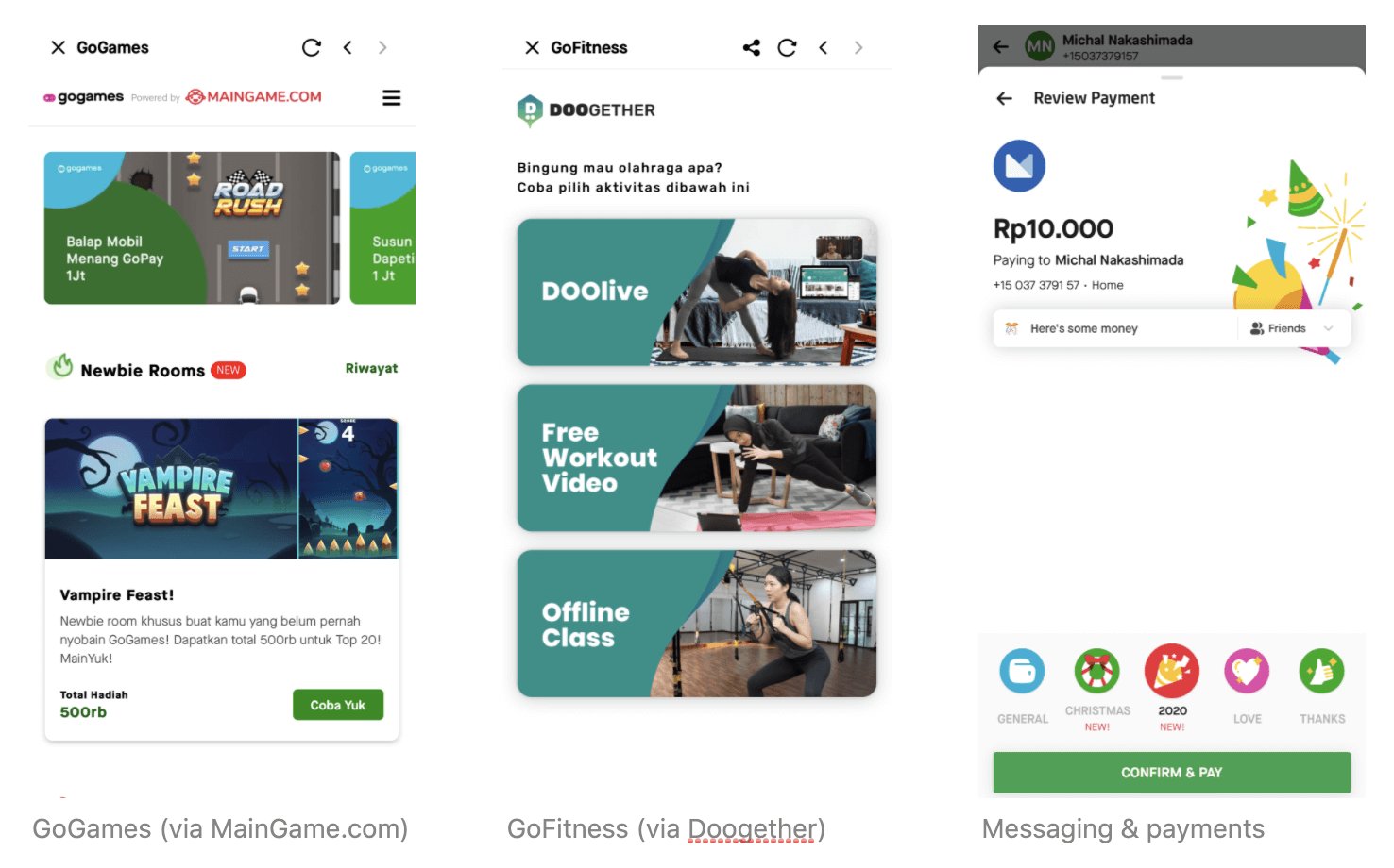 Three screenshots of the Gojek app showing additional services: 1) GoGames (via partnership with MainGames.com), 2) GoFitness (via partnership with Doogether and 3) in-app messaging which allows for payments through the messaging interface