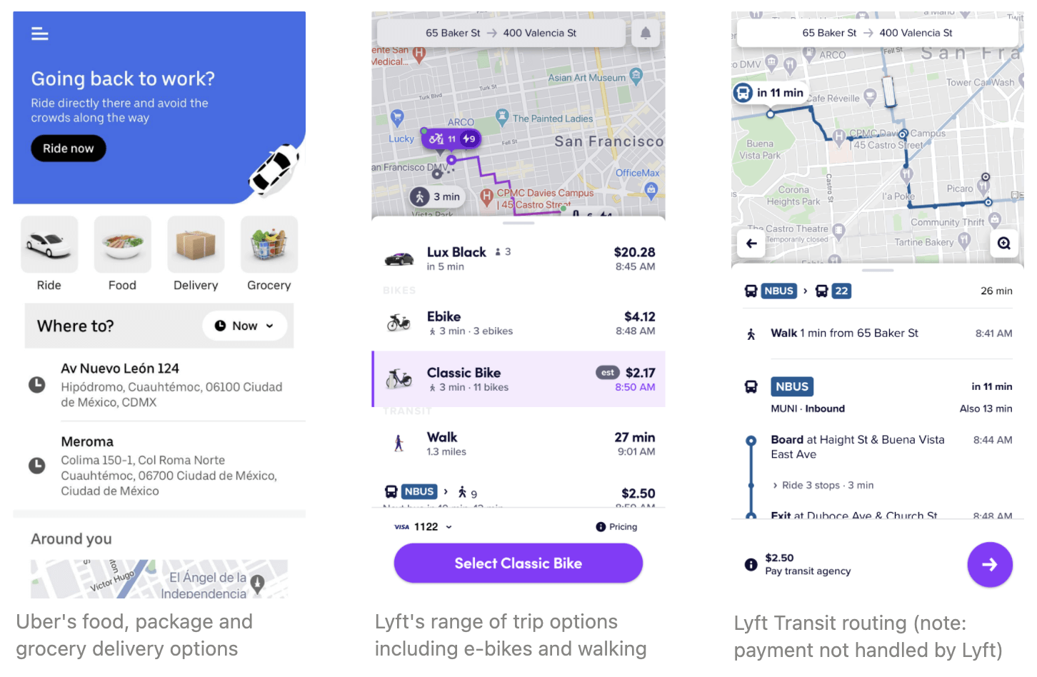 Three screenshots: 1) Uber's food, package and grocery delivery options; 2) Lyft's range of trip options including e-bikes and walking; 3) Lyft Transit routing (noting that trip payment not handled by Lyft)