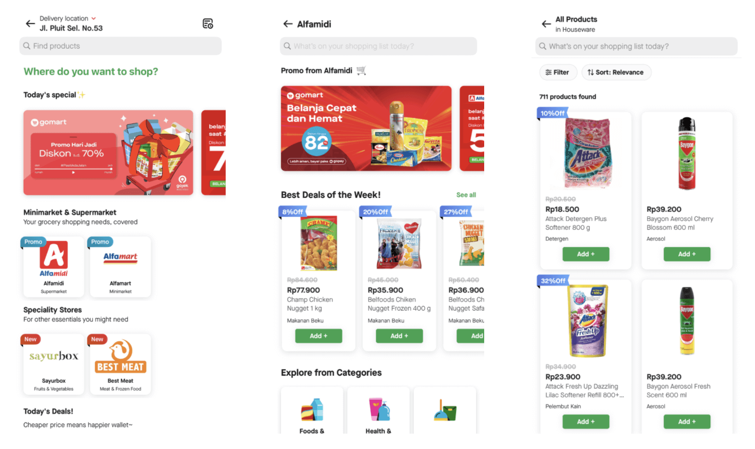 """Three screenshots from the Gojek app showing grocery delivery ordering flow: 1) selecting a supermarket or minimarket on the platform, 2) the store-specific selection page and 3) a filtered view of """"houseware"""" products available for order"""