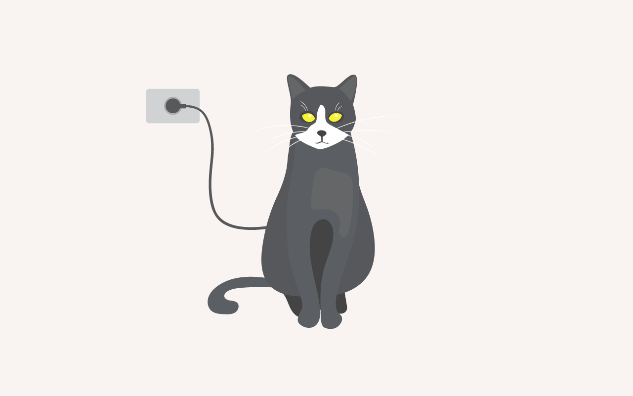 Drawing of Electric Cat, a cord connecting it to a power outlet and eyes illuminated yellow