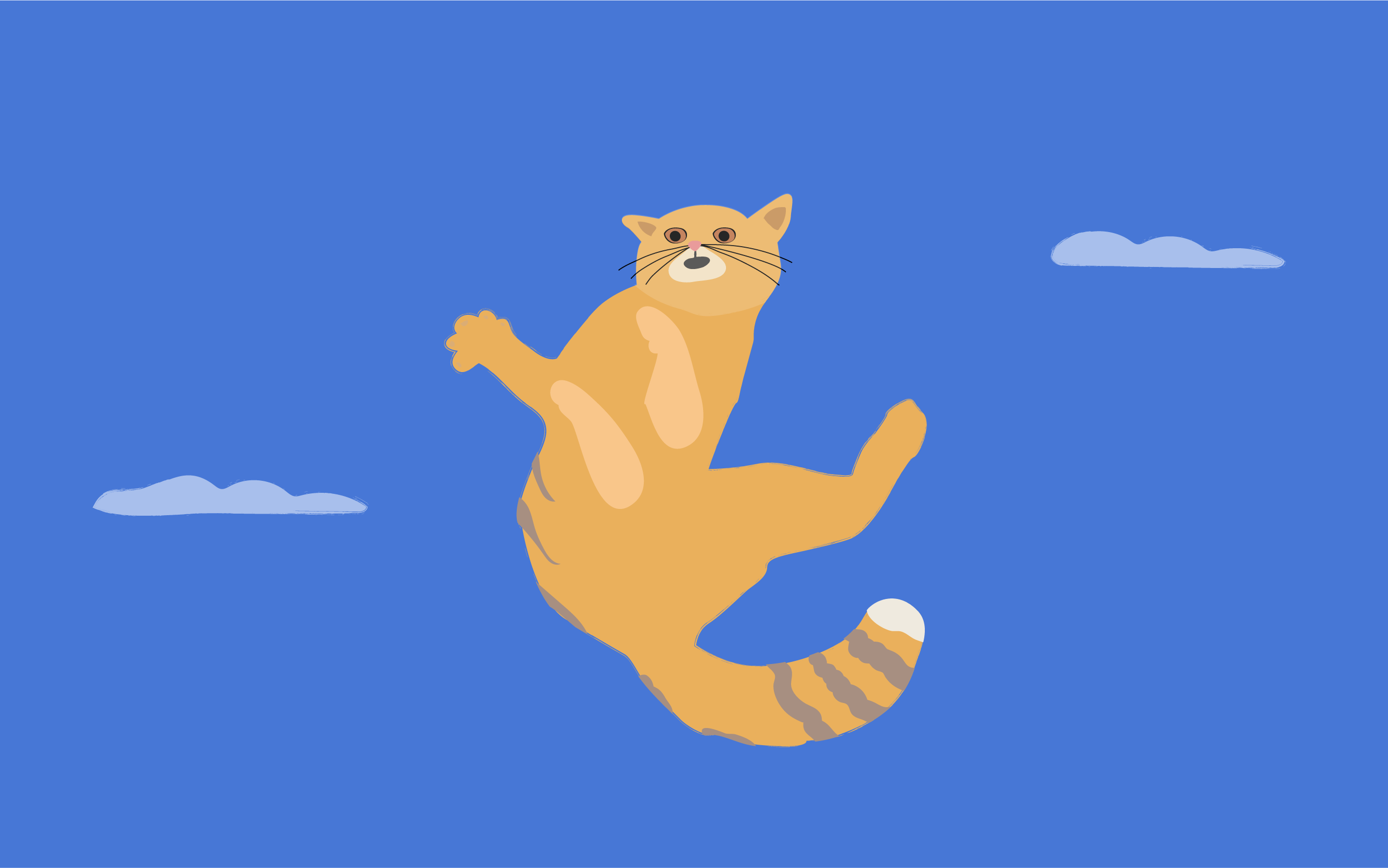 A drawing of Flying Cat, in mid-air, paws splayed out in various directions