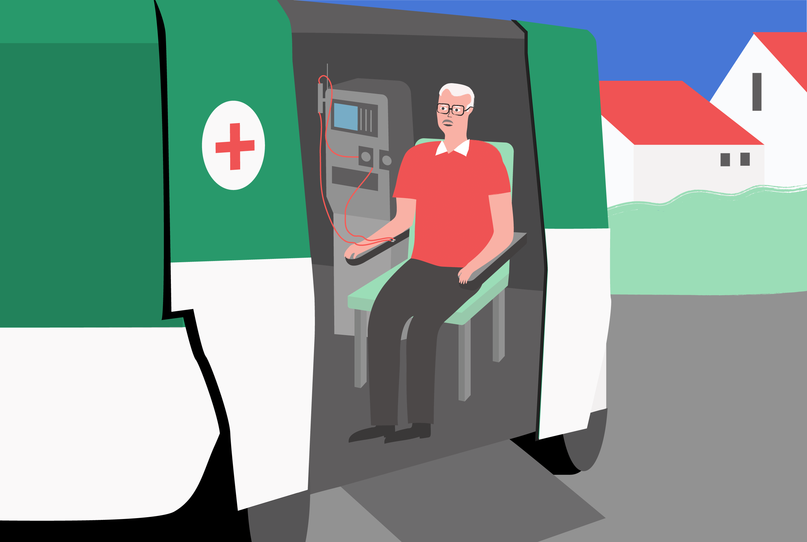 Drawing of Espen receiving dialysis within a mobile medical unit (Places in Motion)