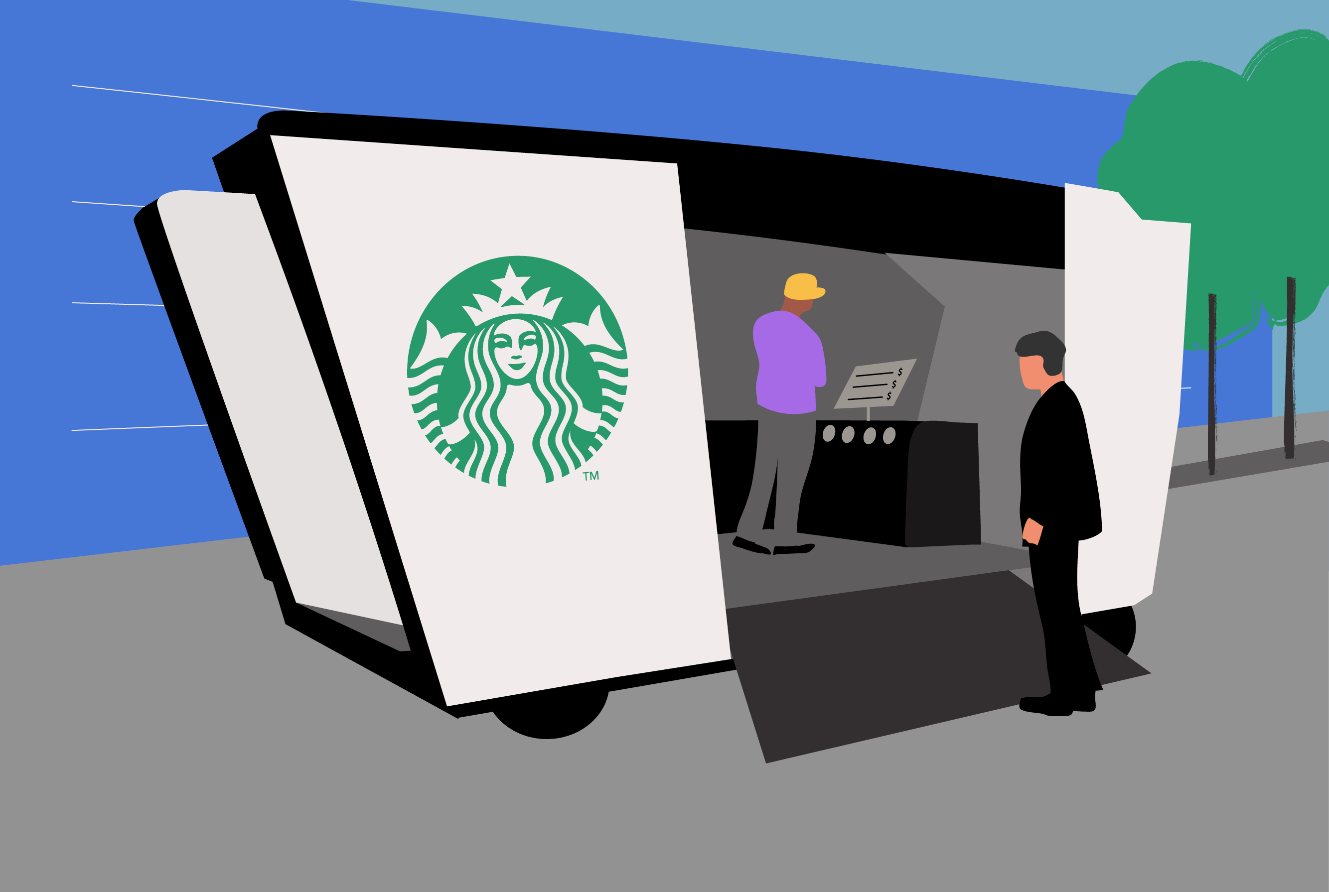 Drawing of a mobile Starbucks store which could make deliveries or serve customers wherever convenient (Places in Motion)