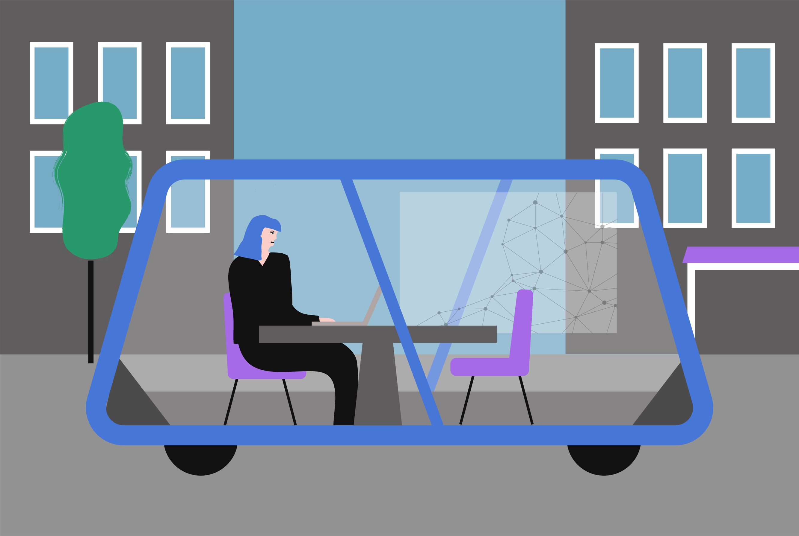 Drawing of Bo working inside a mobile office space (Places in Motion)