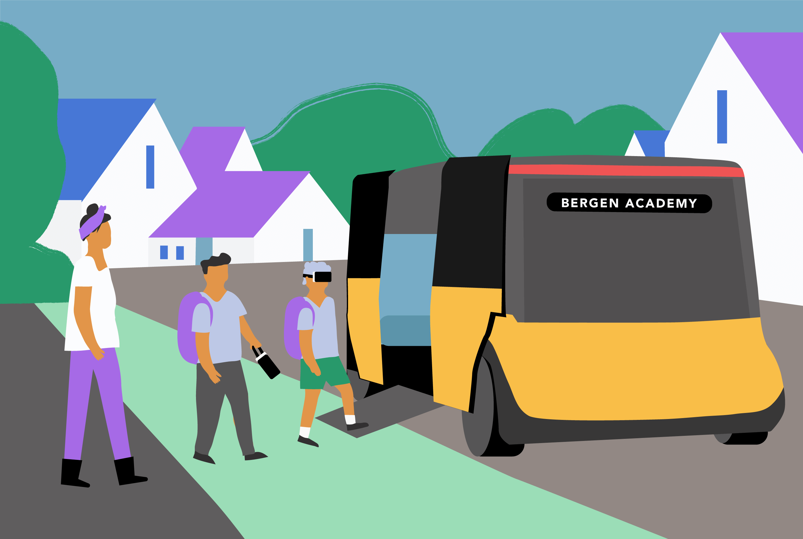 Drawing of Kari accompanying the boys to a mobile school vehicle with the boys putting on VR headsets as they get in (Places in Motion)