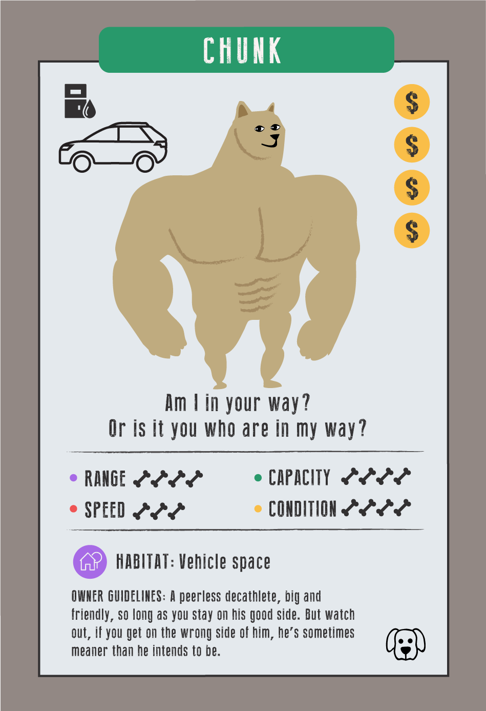 """Chunk DOG card, """"Am I in your way? Or is it you who are in my way?""""; he represents an SUV; """"Owner guidelines: A peerless decathlete, big and friendly, so long as you stay on his good side. But watch out, if you get on the wrong side of him, he's sometimes meaner than he intends to be."""""""