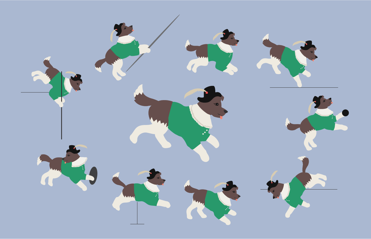 An drawn image of a dog performing the various events of the decathlon