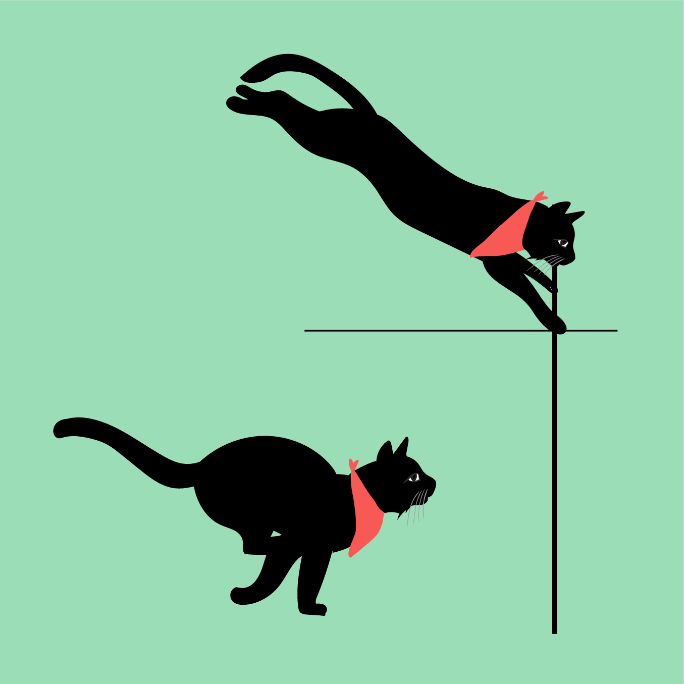 A drawing of cats doing the sprint and the pole vault
