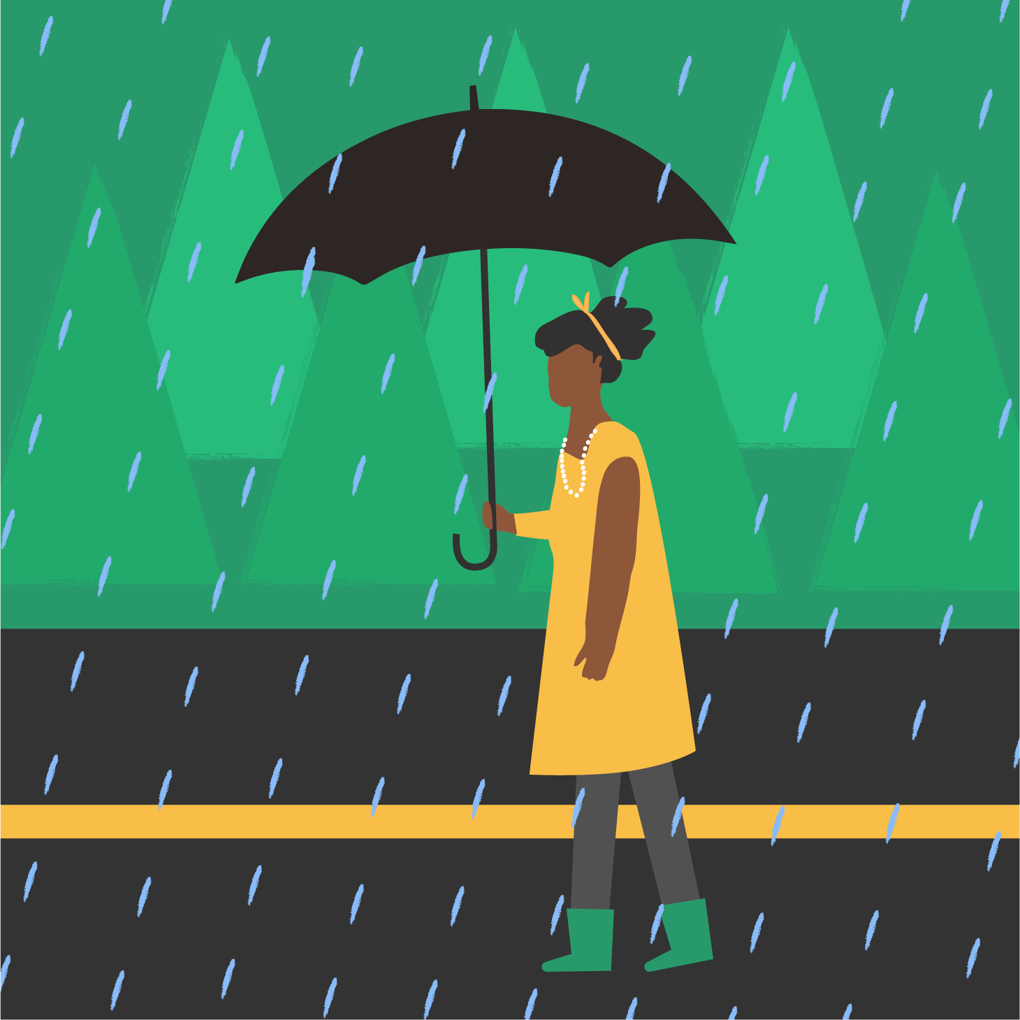 A drawing of Nissa walking in the rain with an umbrella