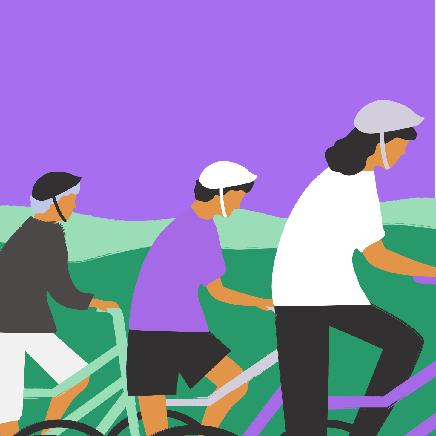 Drawing of Kari cycling with the boys
