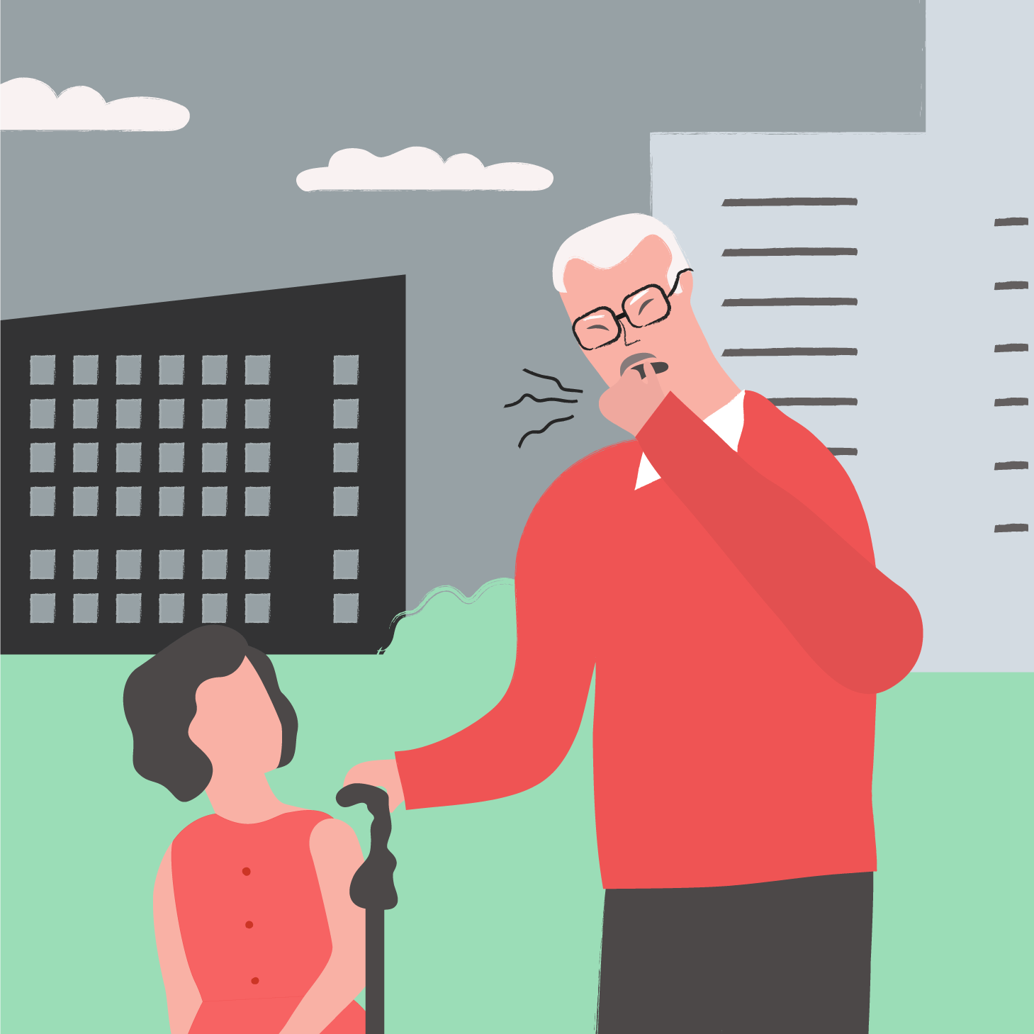 A drawing of Espen with one of his granddaughters coughing due to air pollution