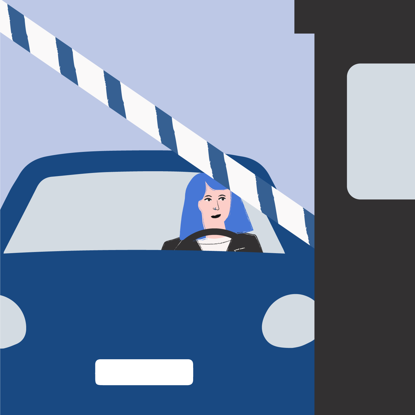 A drawing of Bo driving a car through a toll booth