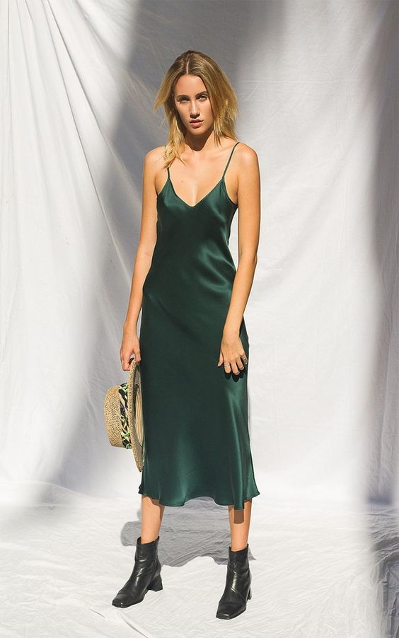 LIKE the boots with this feminine slip dress for fall/winter Silk Laundry '90s emerald silk slip dress