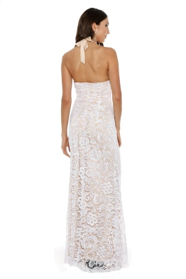 Langhem - Leila White and Nude Evening Gown - Front - White