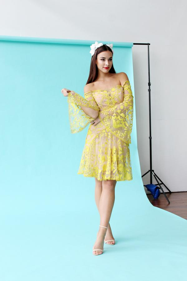 Monika Radulovic wearing our Thurley Marigold Mini Dress