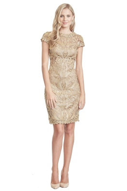 Tadashi Shoji - Gold Lace Corded Dress - Front