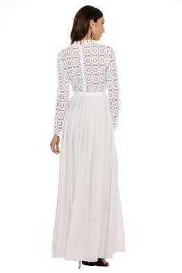 Self Portrait - Pleated Crochet Floral Maxi Dress - Front
