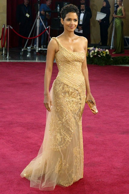 Halle Berry gold red carpet gown