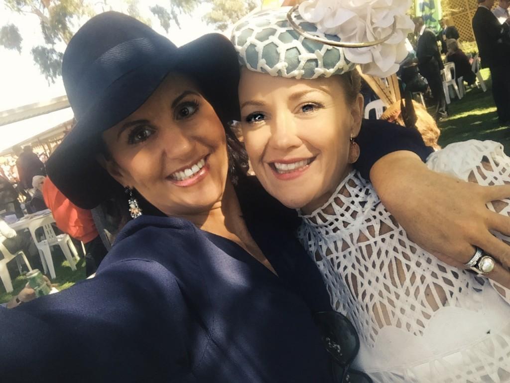 Stephanie with her friend in Navy Blue