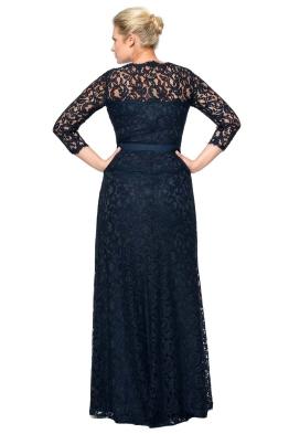 Tadashi Shoji - Lace Boatneck ¾ Sleeve Gown - Front