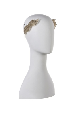 Olga Berg - Gold Filagree Leaf Metal Headband - Front