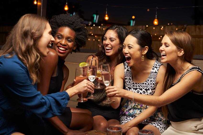 weekend outfits Group Of Female Friends Enjoying Night Out At Rooftop Bar