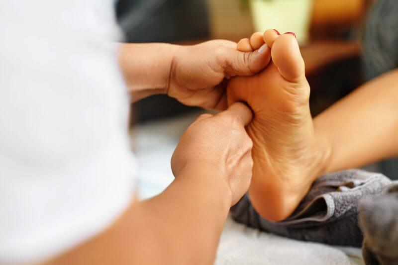Foot massage with foot bath