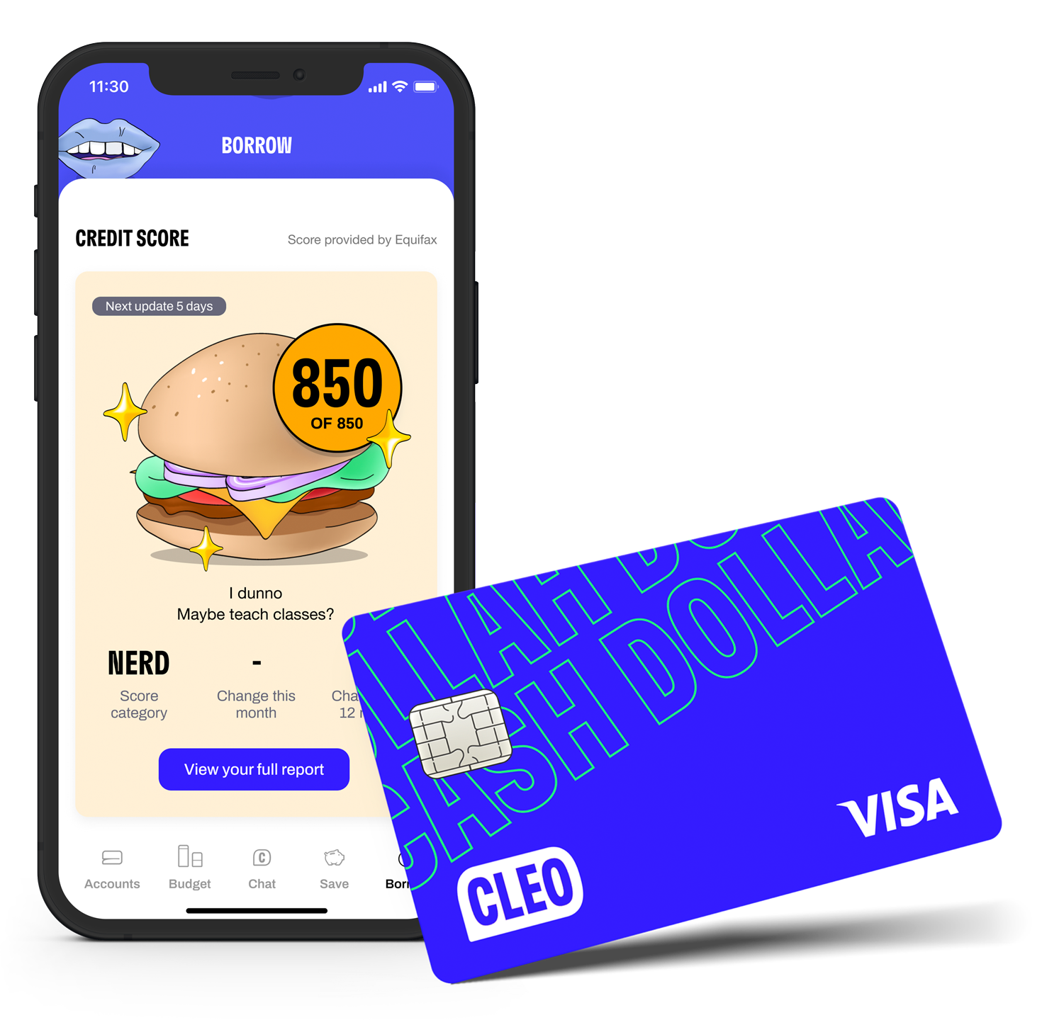 The credit builder card with your credit score in app.
