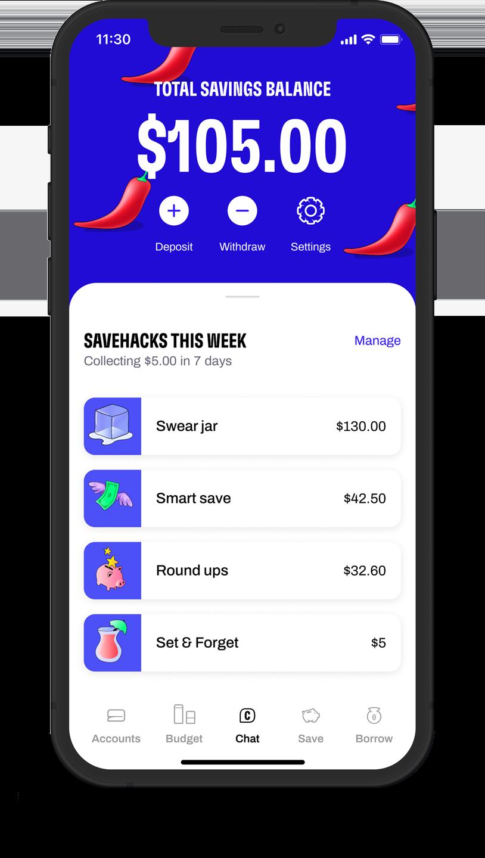 Total savings screen with this weeks saving hacks.