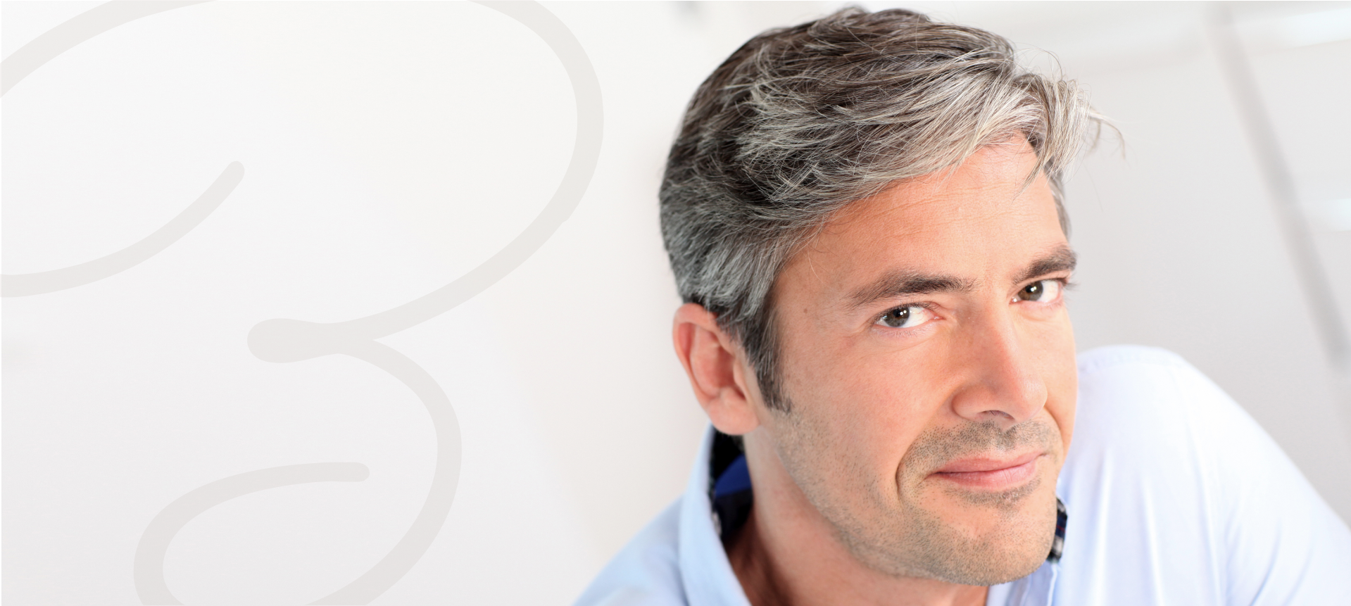 Male hair loss patient confident with the results of hair restoration therapy