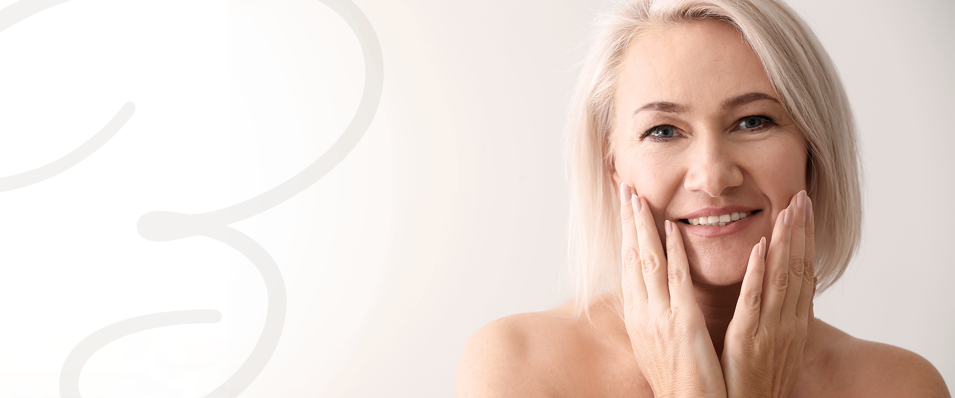 Middle-aged woman enjoying the results of her IPL photo facial