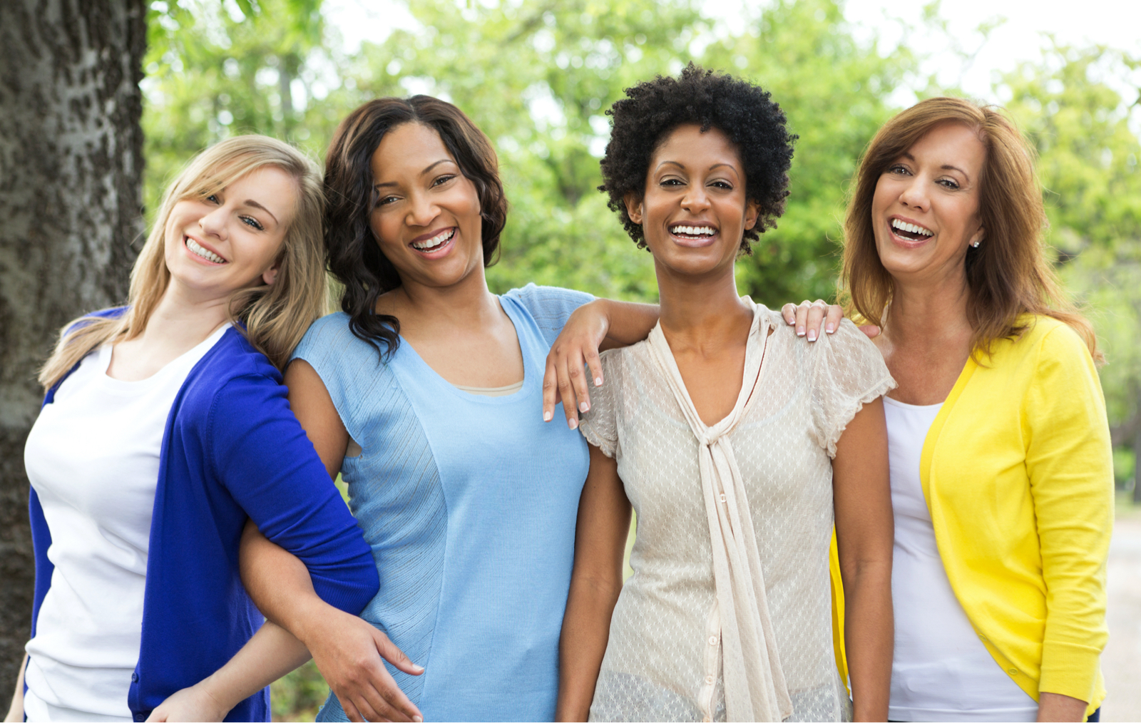group of women with different skin tones illustrating that pico-wave laser skin resurfacing is suitable for all skin tints and tones