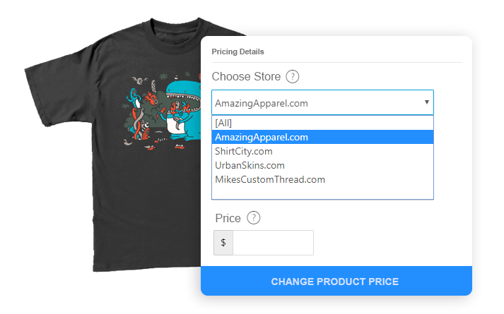 Tshirt with store select dropdown