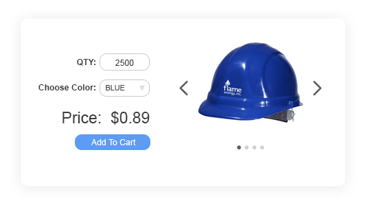 Blue Hardhat With Bulk Discount Example