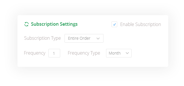 Subscription Settings Example