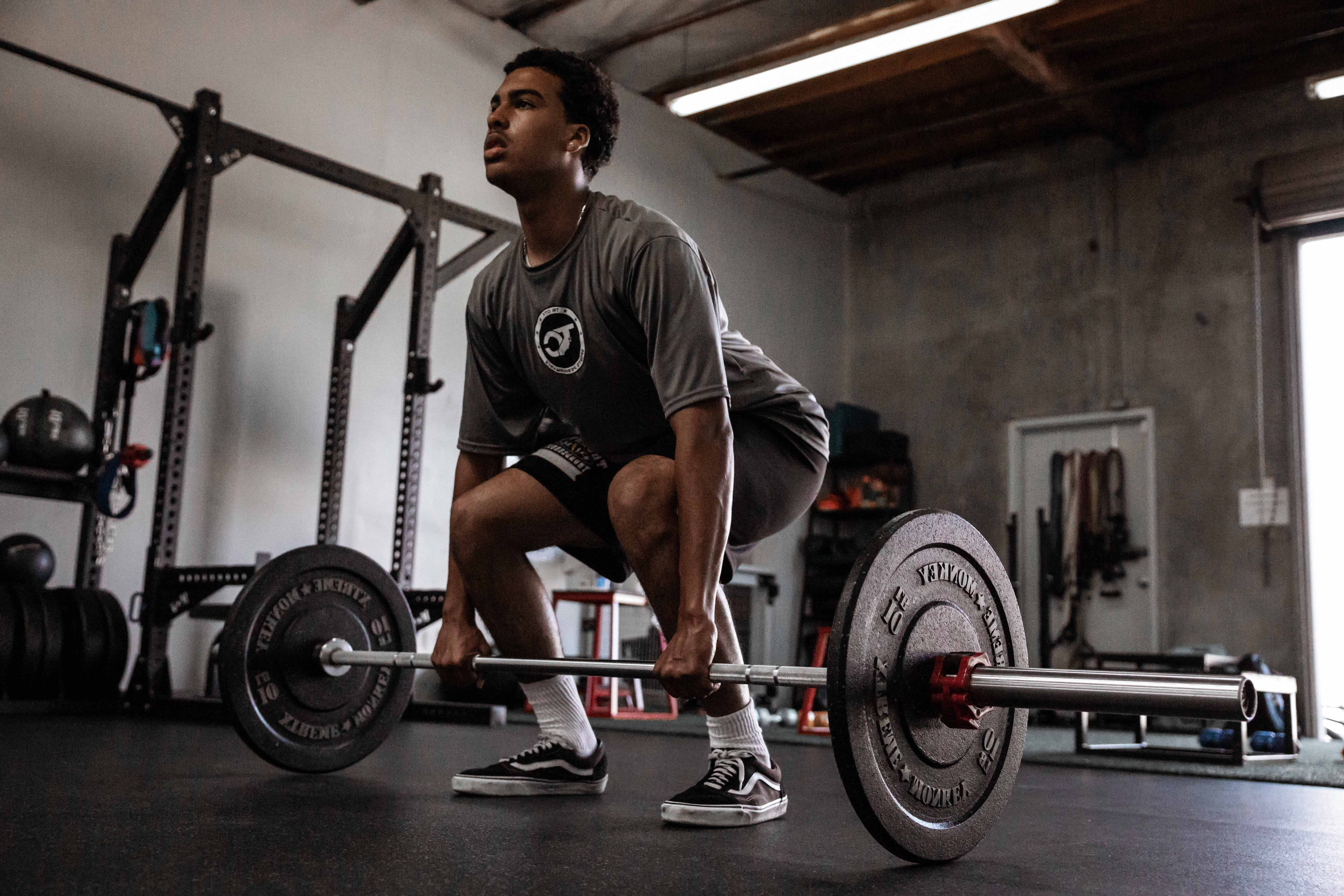Young Sports Athlete Deadlifting