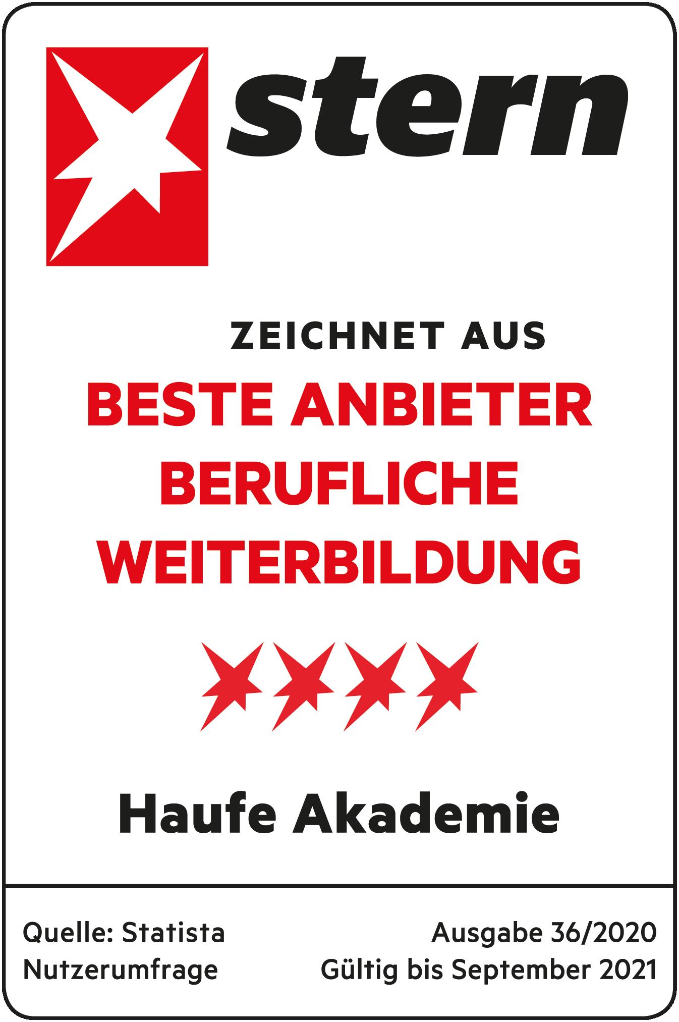 Haufe Akademie ausgezeichnet als bester Anbieter für berufliche Weiterbildung.