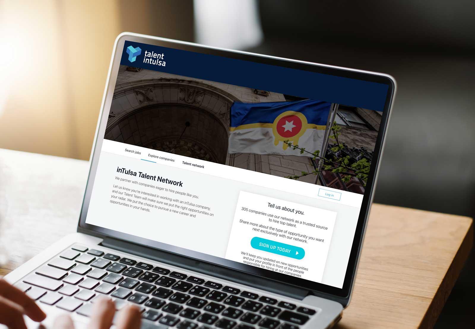 Talent network webpage on laptop