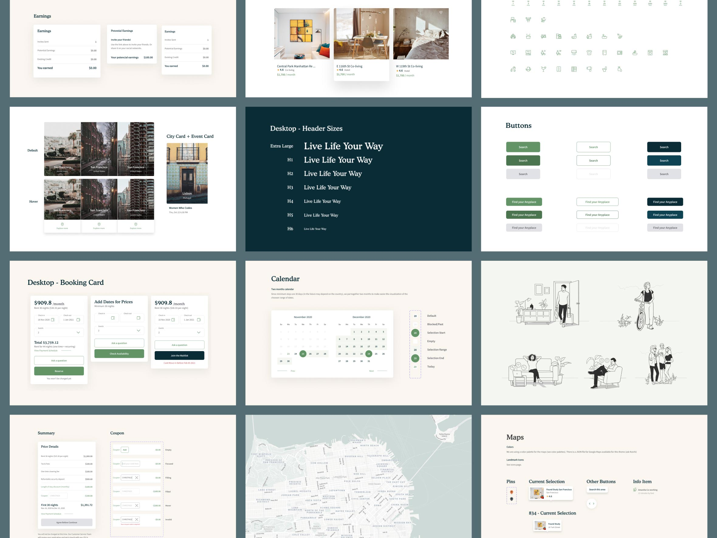 style guide and components of Anyplace designed by Zypsy