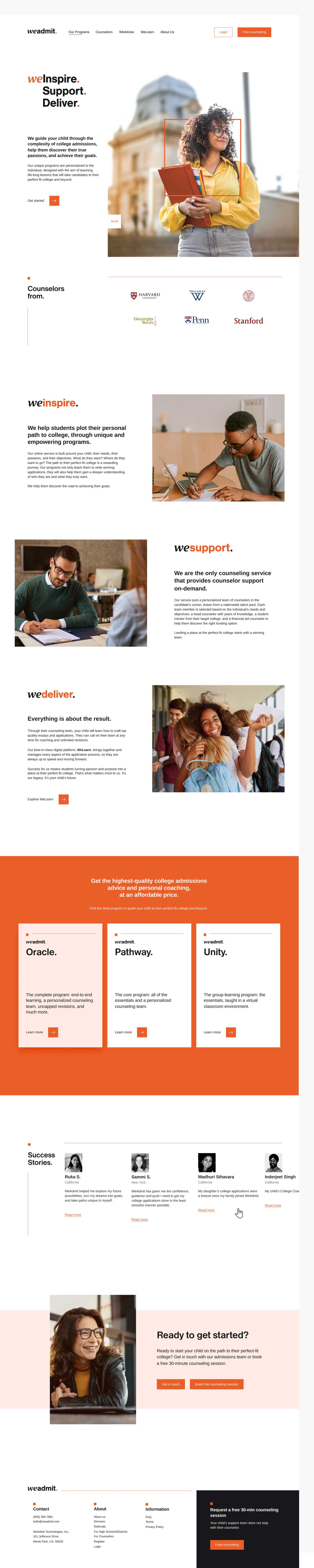weadmit homepage designed by zypsy