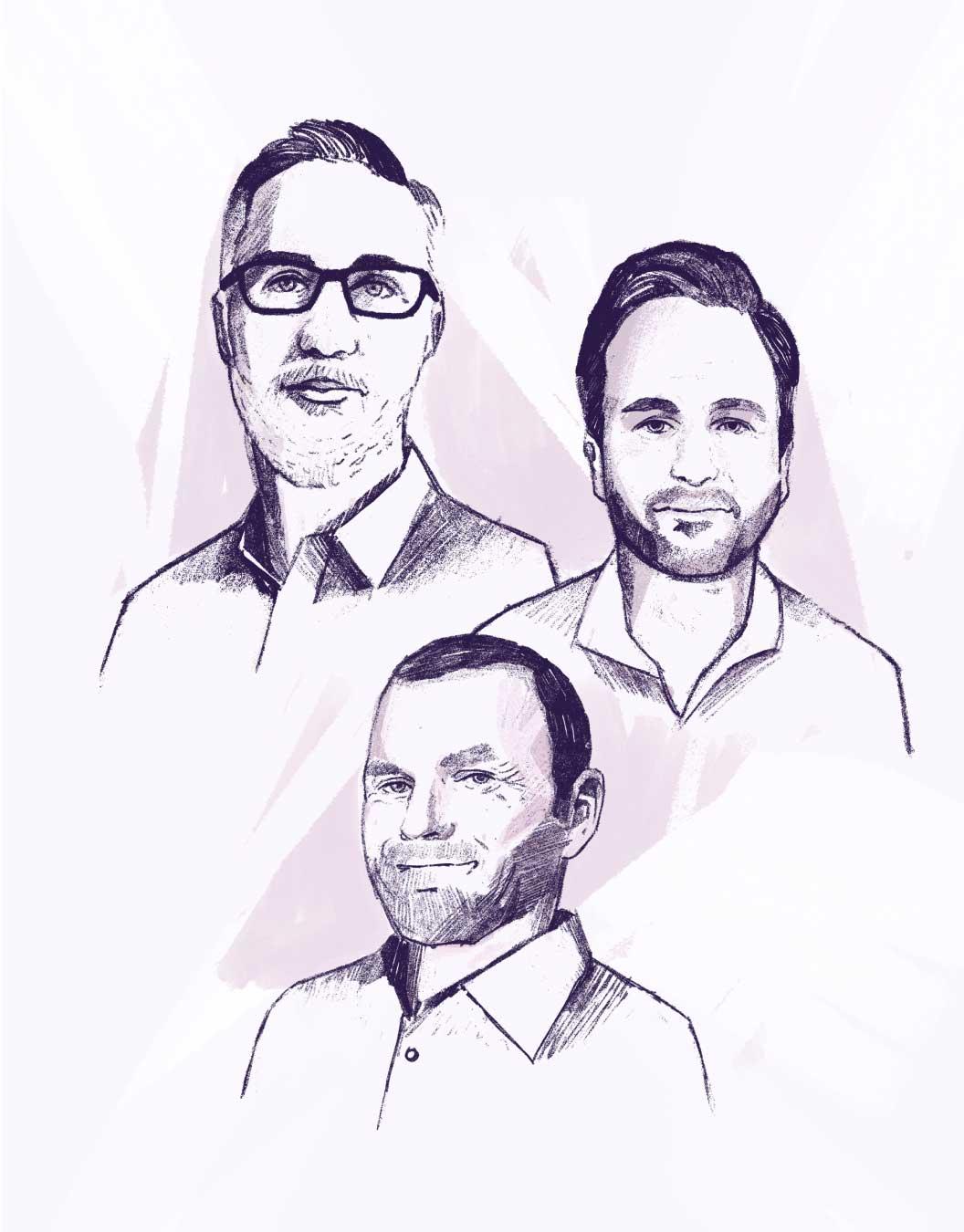 Tommy McClung, Erik Landerholm and David Giffin illustration